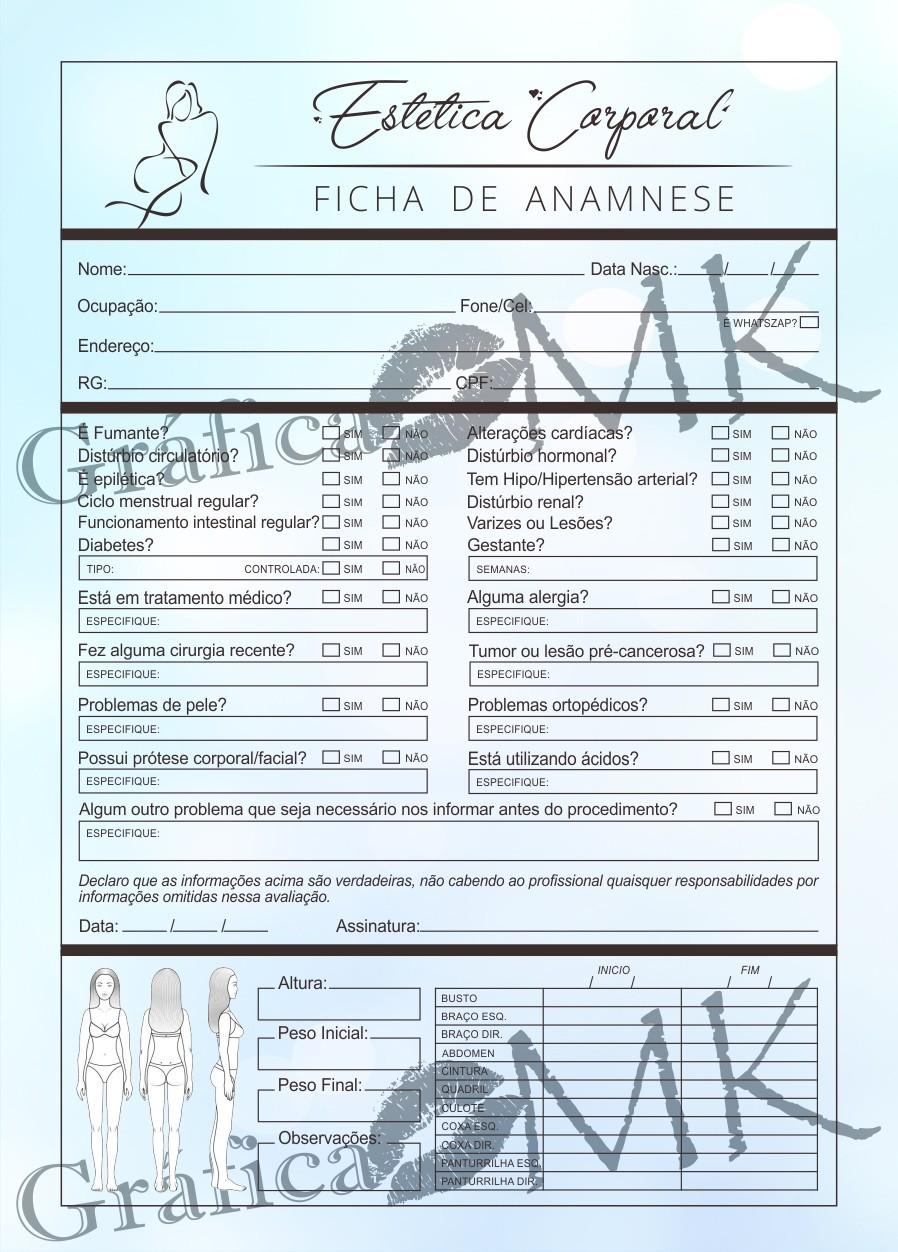Grafica Mk Bloco Ficha De Anamnese Estetica Corporal